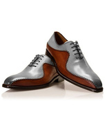 Handmade Brown & Grey Leather Stylish Design Shoes, Men's Lace Up Shoes - $159.97+