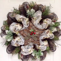 Woodland Twig Star Handmade Winter Or Holiday Deco Mesh Wreath - $89.99