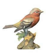 Sparrow Figurine vtg porcelain Lark Bunting red breasted signed sculptur... - $38.65