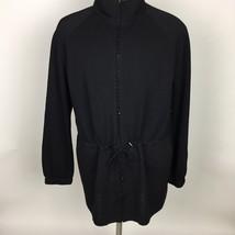 St. John Sport Black Drawstring Full Zip Up Jacket Size Large Wool Outdoor - $126.22