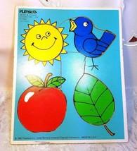 "VINTAGE 1982 PLAYSKOOL 180-03 4 PIECE WOODEN PUZZLE ""COLORS I SEE"""