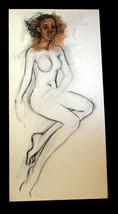 "48"" Original Henry Porter Nude Woman Black Americana Canvas Drawing Unfi... - $474.99"
