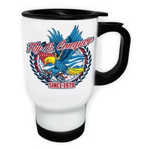 Fly Conquer Since 1978 USA Flag Eagle Grenad White/Steel Travel 14oz Mug... - $17.79
