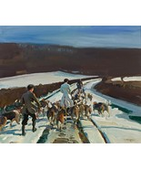 Young Entry a Snowy Road Painting by Sir Alfred James Munnings Art Repro... - $33.99+