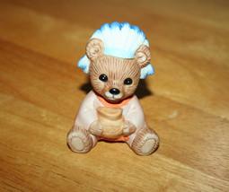 Miniature Bear Figurine Indian Bear Holding a Pot Homco Porcelain Figurine - $6.99