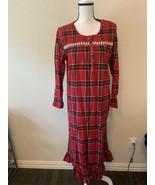 LAURA SCOTT Women's Red Scotch Plaid Flannel and lace Ribbon Trim Night ... - $24.95