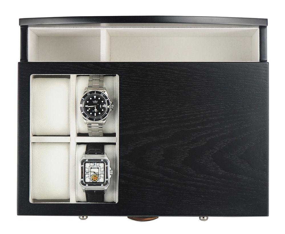 acf63e5f2 Decorebay Executive Mens Black Wood Valet Storage Organizer Men's Jewelry  Box