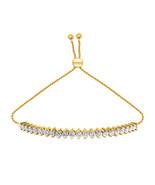 Adjustable 1 Ct D/VVS1 Diamond Prong Tennis Bolo Bracelet 14K Yellow Gol... - $101.96
