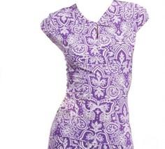 Chaps Ralph Lauren Floral Paisley Purple Lavender Keyhole Blouse Top Large 12 14 - $29.98