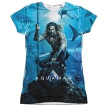 Authentic DC Comics Aquaman Movie Poster FRONT Sublimation Ladies Jr T-shirt top - $26.99+