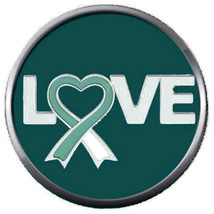 Love Heart Cervical Cancer Awareness Teal White Ribbon 18MM-20MM Snap Charm - $5.95