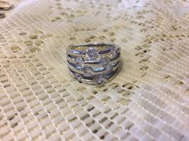 Vintage Estate Silver Rhinestone Large Ring Sz 7 - $12.69