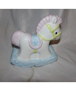 Enesco 1985 porcelain baby rocking horse white pink blue night light Tai... - $12.99
