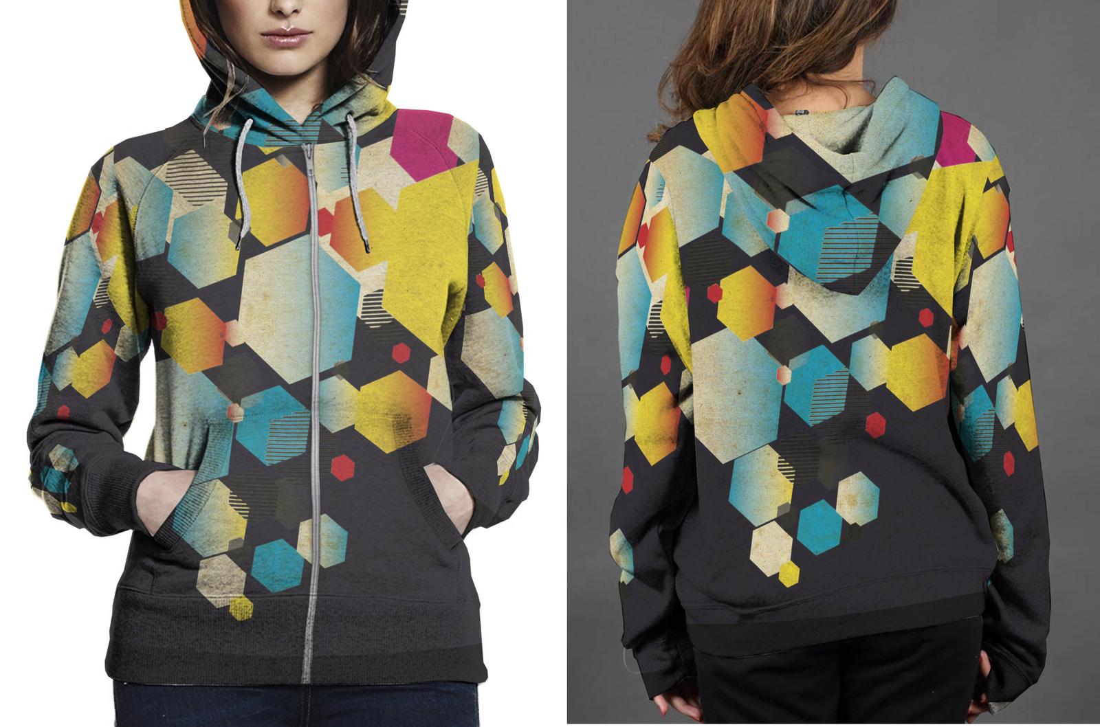 Retro hex zipper hoodie women s