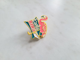 Early Bird Pink Flamingo Enamel Pin, Butterfly Clasp Back image 5