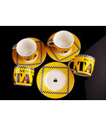 Vintage demitasse set - Yellow taxi cups - yellow cab cappuchino set -  New York - $55.00