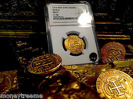"Spain 1 Escudo 1516-1556 ""Seville Mint"" Gold Cob Doubloon Ngc 61 Ms Coin! Pirate - $2,450.00"