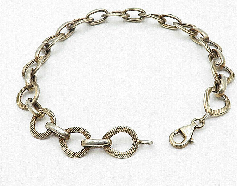 925 Sterling Silver - Vintage Linear Etched Round Link Chain Bracelet - B4418