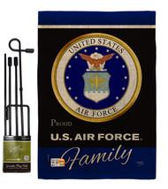 Air Foece Proudly Family Burlap - Impressions Decorative Metal Garden Po... - $36.97