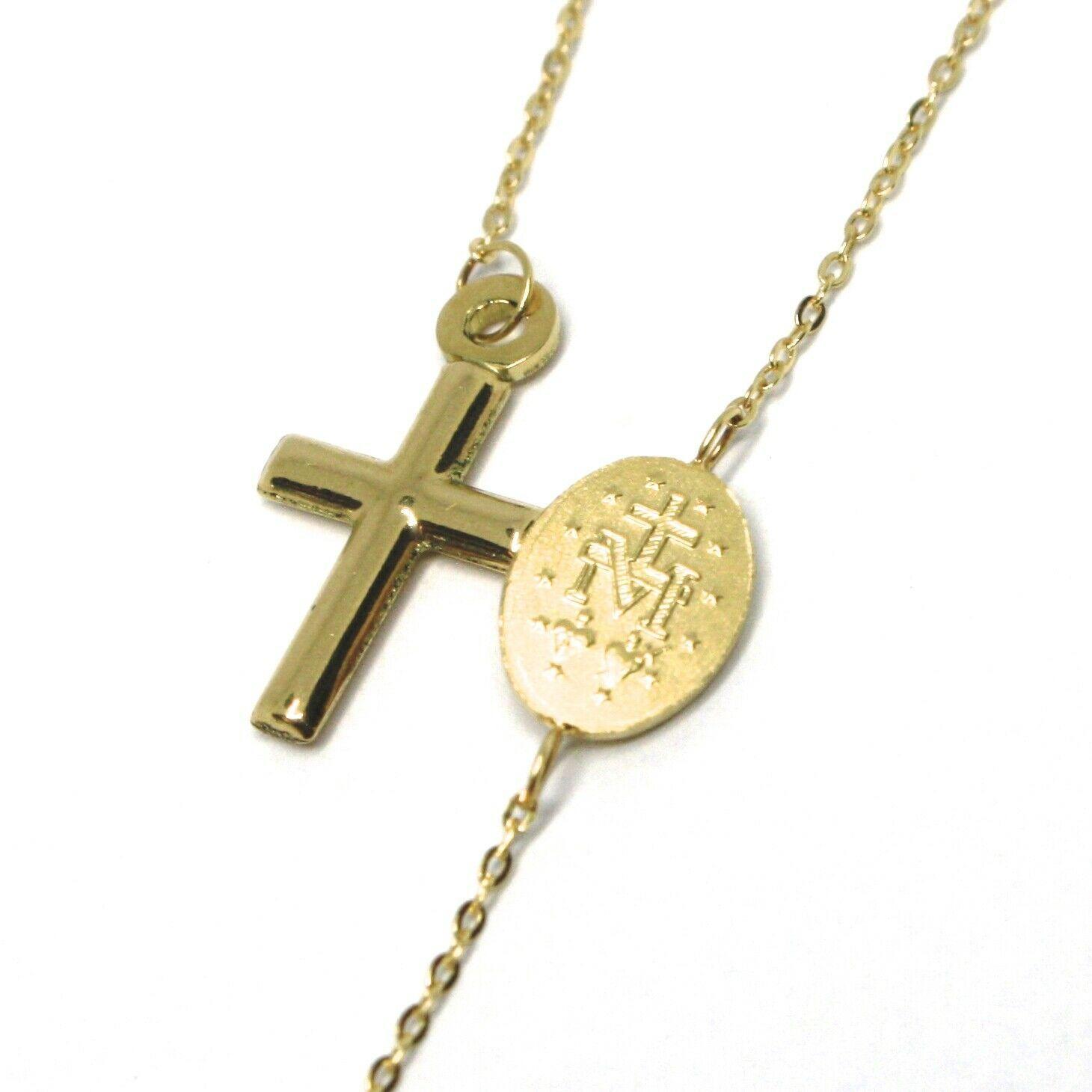 Mini Armband Gelbgold 18K 750,Rosenkranz,Überqueren,Medaille Wundertätige,20 CM