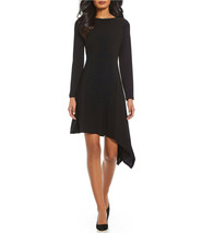 Adrianna Papell Black Long Sleeve Jersey Matte Asymmetrical Hemline Dres... - $84.15