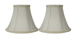 Urbanest Set of 2 Eggshell with Braided Trim Silk Bell Chandelier Lamp Shade, 3- - $15.83