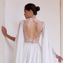 Sexy Open Back Elegant Skirt Slit Beading Lace Floral Chiffon Wedding Dress image 4