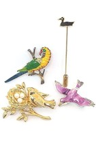 Lot 4 Vintage Bird Brooches Lapel Coat Sweater ... - $9.49