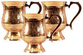 An item in the Pottery & Glass category: IndianArtVilla Handmade Set Of 3 Leaf Mughlai Dedsign Brass Beer Mug 14oz For...
