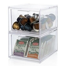 Stackable Clear Plastic Coffee Pod and Tea Bag Organizer Drawers | 2-pac... - $37.06 CAD