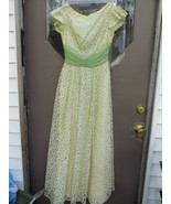 1950s lace and chiffon  Lime green  and yellow/  green satin tea length ... - $44.50