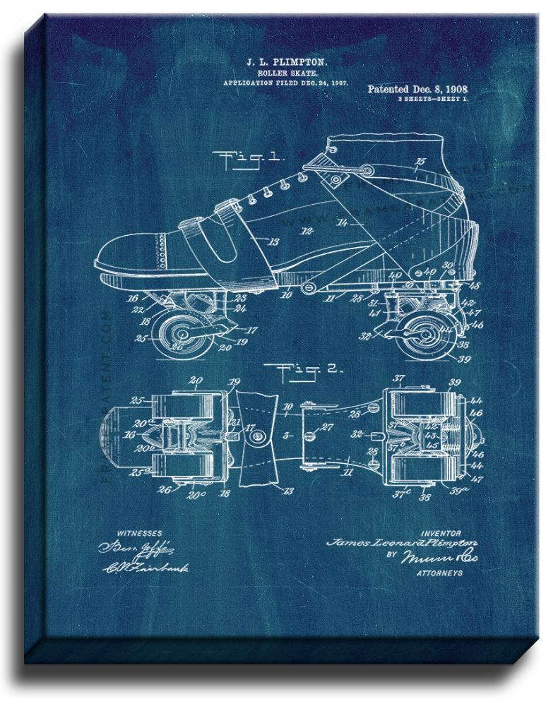 Primary image for Roller Skate Patent Print Midnight Blue on Canvas