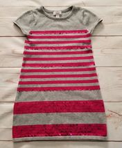 Childrens Place Girls Short Sleeve Sweater Dress Sz Small 5-6 Gray Pink ... - $7.99