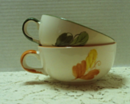Set of Two Large Hand Painted Floral Design Soup Bowls Chili Bowls - $12.00