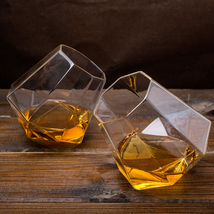 2pcs Diamond Whisky Glass Scotch Whiskey Tumbler Liqueur Spirit Vodka Ru... - $24.75