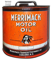 Merrimack Motor Oil Reproduction Laser Cut Out 11x13 - $19.80