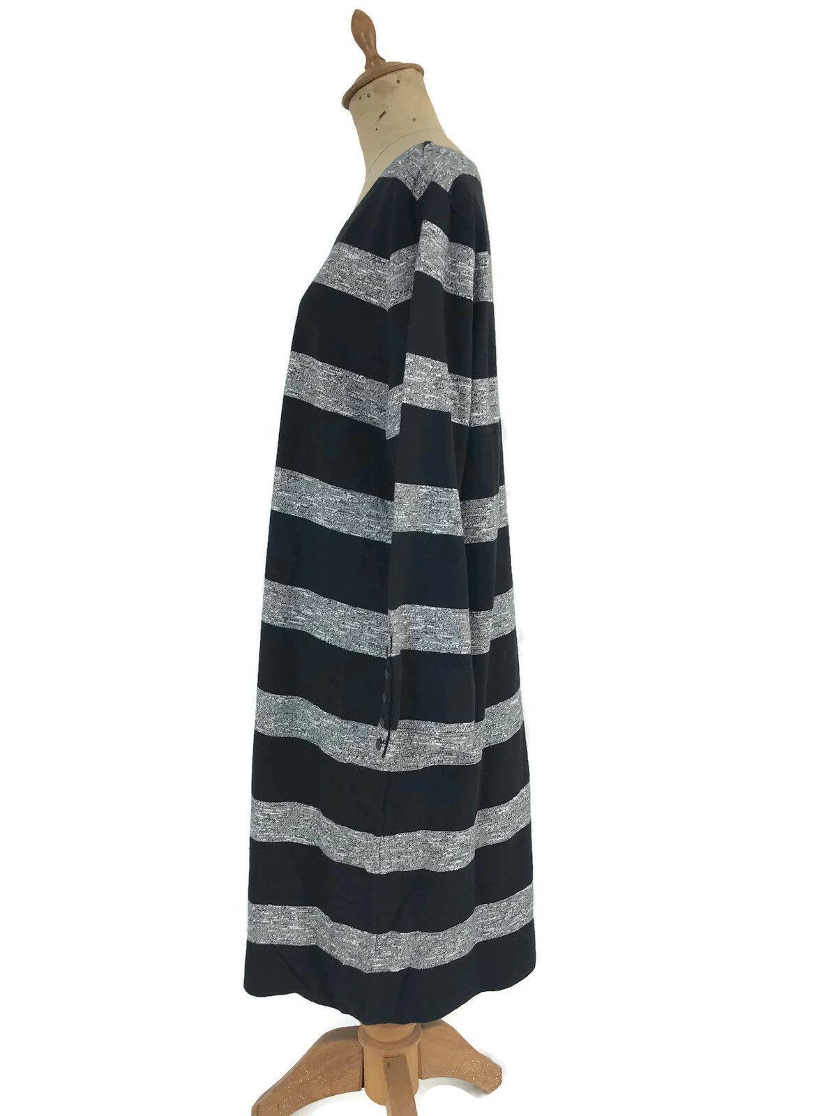 J. Crew Factory Dress Black Gray Stripe Boatneck 3/4 Sleeves Style 02665 Sz L U1 image 3