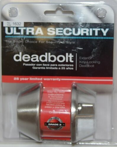 Ultra Security Exterior Deadbolt Key Locking Stainless Steel