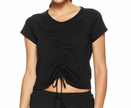 Calvin Klein Performance Ruched-Front Cap-Sleeve Top Black Size S NEW wi... - $19.99
