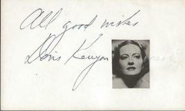 Doris Kenyon Signed Vintage 3x5 Index Card JSA - $29.69