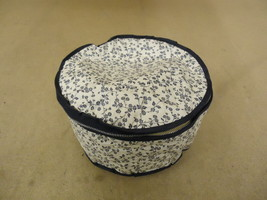 Cover Ups Dish Case 9in Diameter x 5in H White/Blue Floral Plastic - $9.02