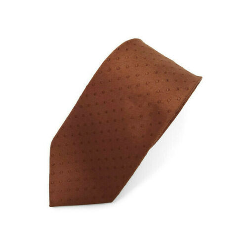 Kenneth Cole Brown On Brown Polka Dots Silk Tie Necktie