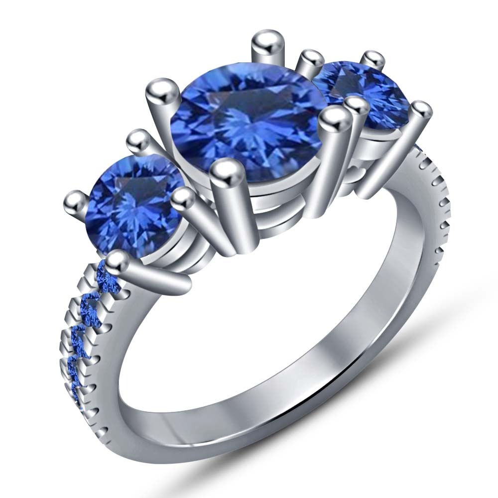 10k White Gold Plated 925 Silver Round Cut Blue Sapphire Bridal Wedding Ring Set