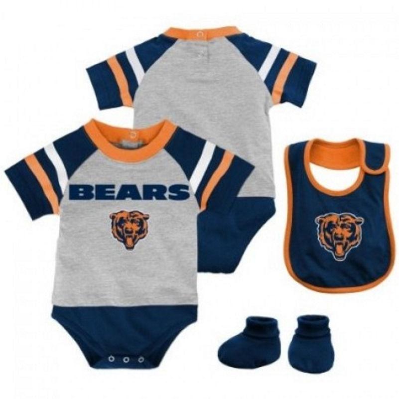 Infant Chicago Bears Creeper Set 3pc Little Player Bodysuit Bib Booties NFL Baby