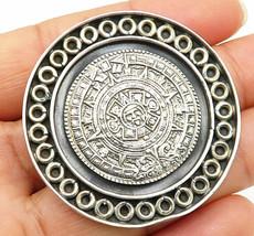 AVG MEXICO 925 Silver - Vintage Surrounded Loop Mayan Sun Brooch Pin - B... - $111.62