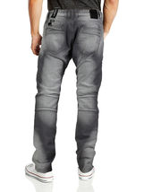 Contender Men's Cotton Moto Quilted Zip Distressed Ripped Destroyed Denim Jeans image 5