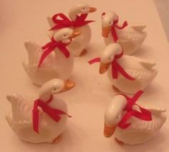 Vintage Set of 6 Christmas Holiday Goose Ceramic Napkin Rings 2 Differen... - $24.90