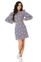 P99 - Ladies Blue Nautical Balloon Sleeve Chiffon Mini Shift Dress (S-2XL) - $19.00