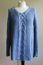 Talbots L Blue 100% Cotton Marled Cable Knit Side Zip Raglan Sleeve Sweater - $30.40