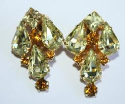 40s signed Weiss Yellow Marquise and Amber Rhinestone Clip On Earrings - $39.99